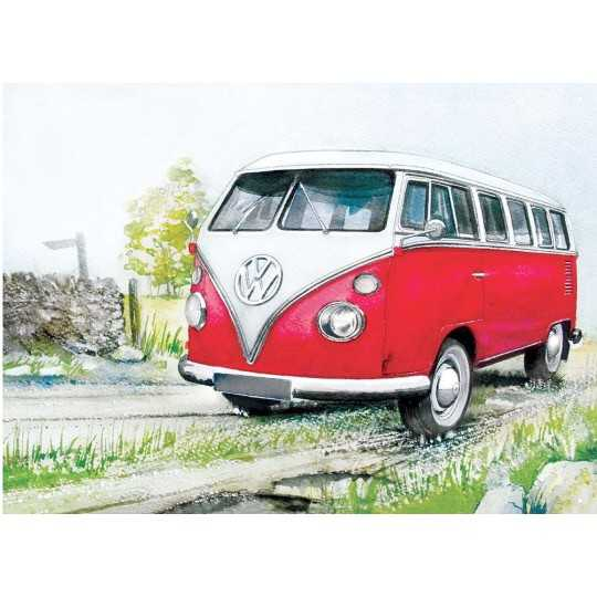 VW Watercolour Camper Country Line - metalskilt